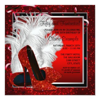 Womans Black and Red High Heels Birthday Party Custom Invites