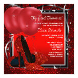 Womans Black and Red High Heels Birthday Party Personalized Invitation