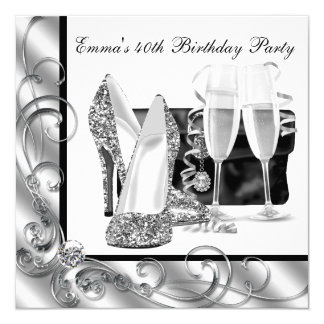 Womans Black and White Birthday Party Personalized Invitations