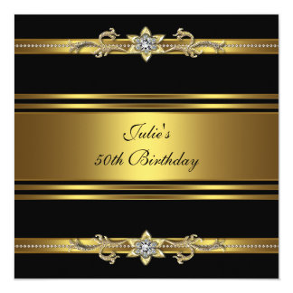 Womans Black Gold 50th Birthday Party Card