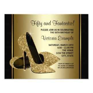 Womans Black Gold High Heel Birthday Party 4.25x5.5 Paper Invitation Card