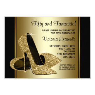 Womans Black Gold High Heels Birthday Party Card