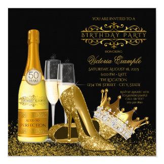 Womans Black Gold High Heels Princess Birthday Card