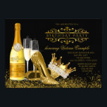 "Womans Black Gold High Heels Princess Birthday Invitation<br><div class=""desc"">Womans black and gold birthday party invitation with beautiful gold glitter high heel shoes and elegant princess or queen crown with gold champagne bottle and glasses on a fancy black and gold background. You can easily customize this elegant black and gold birthday party invitation for your event by simply adding...</div>"