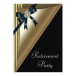 "Womans Black Gold Retirement Party 5"" X 7"" Invitation Card"