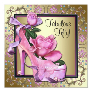 Womans Black Pink Gold 50th Birthday Party Card
