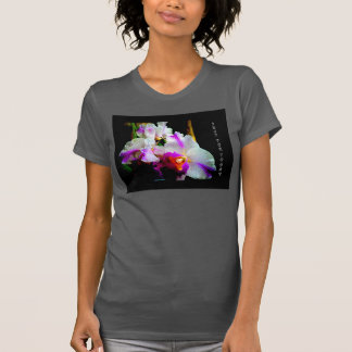 WOMANS BLACK RACER BACK WITH FULL ORCHID/SLOGAN SHIRTS