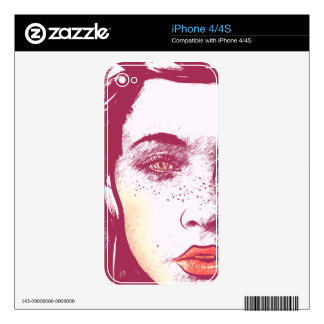 Woman's Blowing Hair, Red iPhone 4 Skin