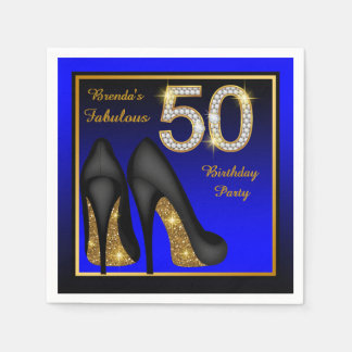 Womans Blue and Gold 50th Birthday Party Paper Napkin