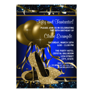 Womans Blue and Gold High Heel Birthday Party Card