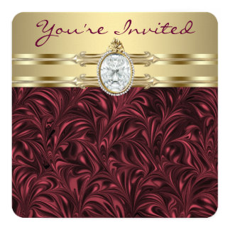 "Womans Burgundy Wine and Gold Birthday Party 5.25"" Square Invitation Card"