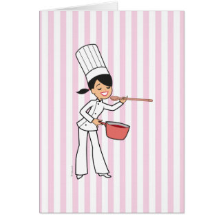 Woman's Chef Blank Greetin Card with Pink Stripes