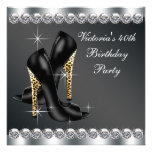 Womans Chic Black Birthday Party Announcements