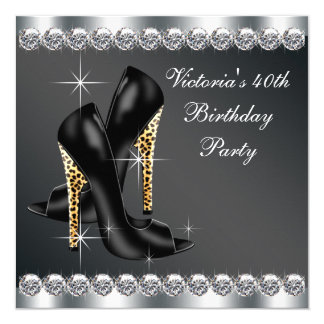 Womans Chic Black Birthday Party 5.25x5.25 Square Paper Invitation Card