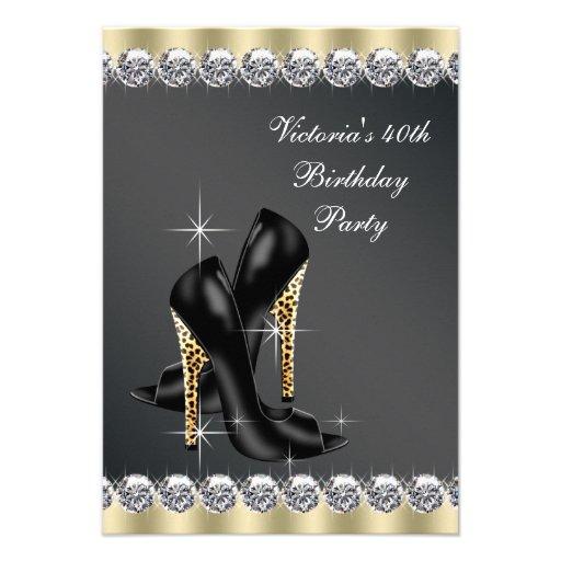 Womans Chic Black Birthday Party Invitation