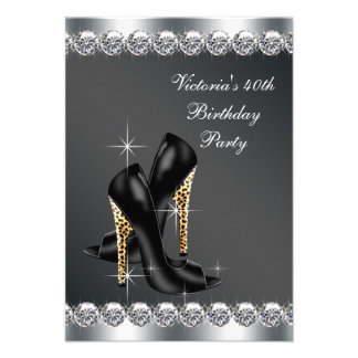 Womans Chic Black Birthday Party Invitations