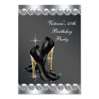 Womans Chic Black Birthday Party 3.5x5 Paper Invitation Card