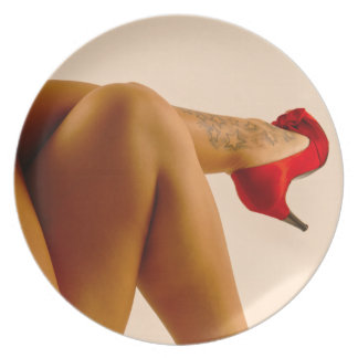 Woman's Crossed Bare Legs with Red High Heels Dinner Plate