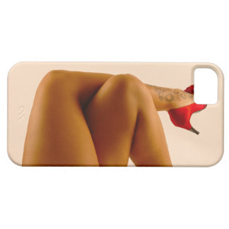 Woman's Crossed Bare Legs with Red High Heels iPhone SE/5/5s Case