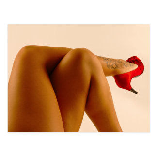 Woman's Crossed Bare Legs with Red High Heels Postcard