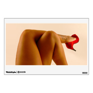 Woman's Crossed Bare Legs with Red High Heels Wall Decal