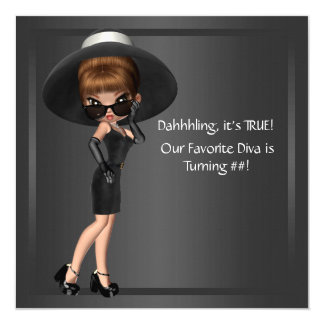 Womans Cute Diva Birthday Party Card