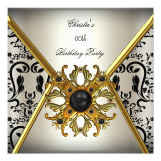 Womans Damask Grey Cream Gold Black Birthday Party Announcement