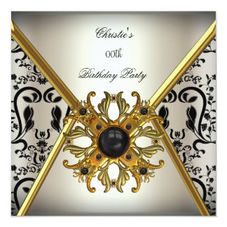 Womans Damask Grey Cream Gold Black Birthday Party 5.25x5.25 Square Paper Invitation Card