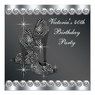 Womans Elegant Black 40th Birthday Party Card
