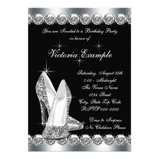 Womans Elegant Black 40th Birthday Party Cards (back side)