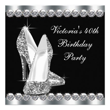 Womans Elegant Black 40th Birthday Party Invitations
