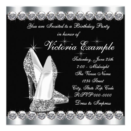 Womans Elegant Black 40th Birthday Party Invitations (back side)