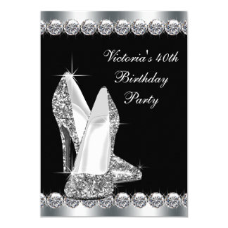 Womans Elegant Black Birthday Party 5x7 Paper Invitation Card