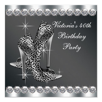 Womans Elegant Black Birthday Party Custom Invitations