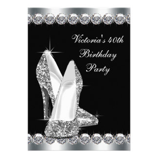 Womans Elegant Black Birthday Party Cards