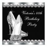 "Womans Elegant Black Birthday Party 5.25"" Square Invitation Card"