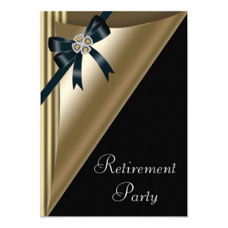 Womans Elegant Black Gold Diamond Retirement Party Card