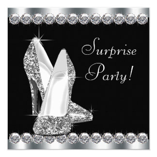 Womans Elegant Black Surprise Birthday Party Card