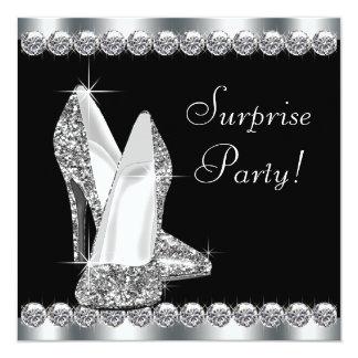 Womans Elegant Black Surprise Birthday Party Invites