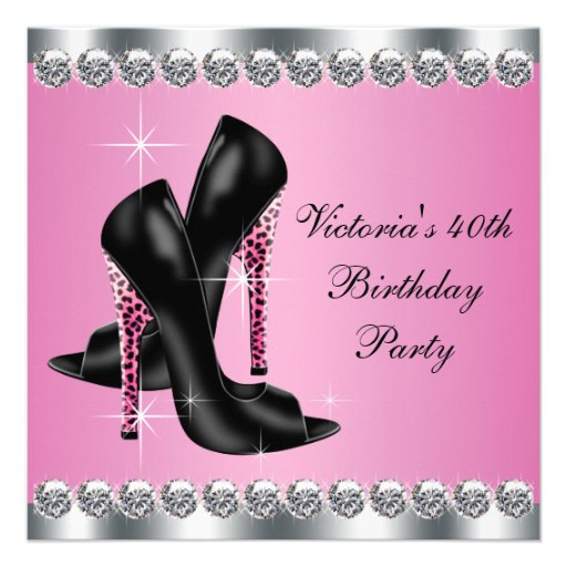 Womans Elegant Chic Pink Leopard Birthday Party Custom Announcement