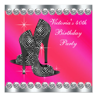 Womans Elegant Hot Pink 40th Birthday Party Card