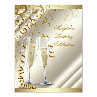 Womans Elegant Ivory Gold Birthday Card