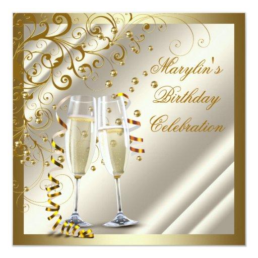 Womans Elegant Ivory Gold Birthday 5.25x5.25 Square Paper Invitation Card