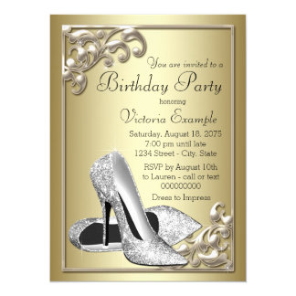 Womans Elegant Ivory Gold Shoe Birthday Party Card