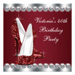 Womans Elegant Ruby Red Birthday Party Personalized Invitation