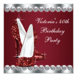 """Womans Elegant Ruby Red Birthday Party 5.25"""" Square Invitation Card"""