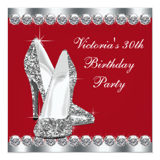 Womans Elegant Silver and Red Birthday Party Card