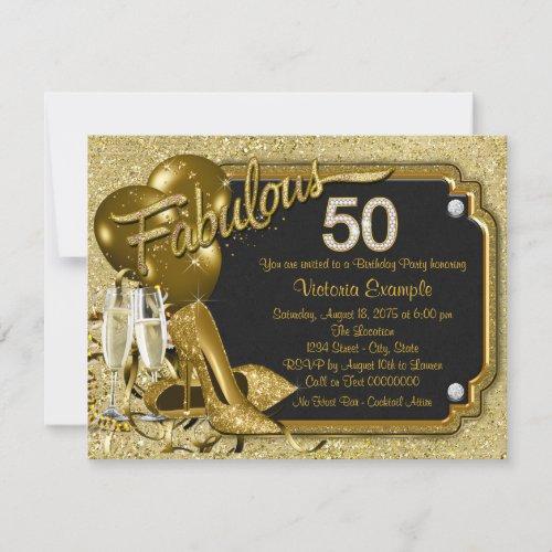 Womans Fabulous 50 Birthday Party Invitation