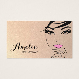 Woman's Face Beauty Salon & Spa Gold Business Card