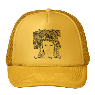 Woman's Face:  Big Heavy Hair with Designs Hat